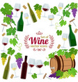 background of wine icons with round frame vector image vector image