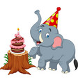 cartoon baby elephant birthday vector image vector image