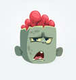 cartoon funny gray zombie head icon vector image