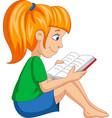 cartoon little girl reading a book vector image vector image