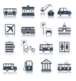 City infrastructure icons black vector image