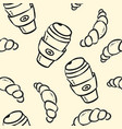 coffee cup and croissant doodles on pastel vector image