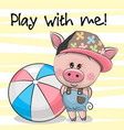 cute pig with a ball on a yellow background vector image