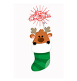 Cute reindeer in sock vector image vector image