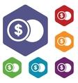 Dollar coin rhombus icons vector image