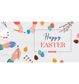 easter scene - happy family are preparing for vector image