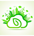 Ecology concept with eco clouds-cape and leaf vector image vector image