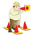 engineer blowing construction cone vector image vector image