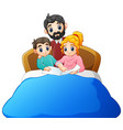 family reading a book to son on bed on a white bac vector image