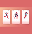 fitness character exercise landing page template vector image vector image