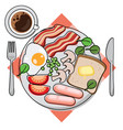 full english breakfast - top view vector image vector image