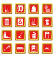 garbage thing icons set red vector image vector image