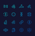 genetics icons dna chain gene editing line vector image vector image