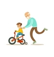 Grandfather Running Behind Grandson Bicycle Happy vector image vector image