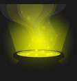 green glowing witch pot with potion in cartoon vector image