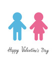 Happy Valentines Day Love card Man and Woman icon vector image