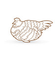 hen with chicken outline vector image