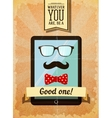 Hipster poster with vintage tablet vector image vector image