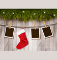 holiday background with photos and a red vector image