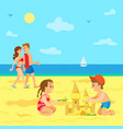 kids playing on beach summer vacation children vector image vector image