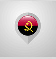 map navigation pointer with angola flag design vector image vector image