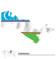 Map of Uzbekistan with flag vector image vector image