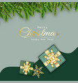 merry christmas green background design with gift vector image vector image