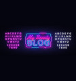my beauty blog neon sign blogging design vector image vector image