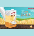 oat milk package realistic product vector image vector image