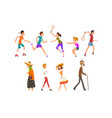 people walking and training in park set vector image vector image
