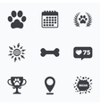 Pets icons Dog paw sign Winner laurel wreath vector image vector image