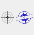 pixel bullseye icon and grunge 0 stamp seal vector image vector image