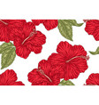 red hibiscus flowers seamless pattern vector image vector image