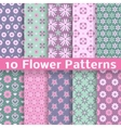 Romantic flower different seamless patterns tiling vector image