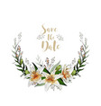 save the date postcard half wreath with lily vector image