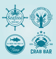 seafood restaurant emblems or badges vector image vector image