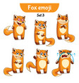 set of cute fox characters set 3 vector image vector image