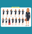 set of young businesswoman presenting vector image vector image