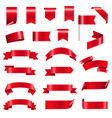 silk red ribbons and tags white background vector image vector image