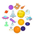 space icons set cartoons style vector image