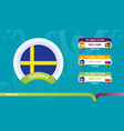 sweden national team schedule matches in the vector image vector image