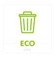 trash can icon in eco design vector image