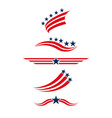 usa icon set in red and blue stars and stripes vector image vector image