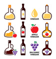 vinegar icon set - apple cider and baslamic vector image vector image