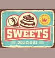 vintage sign post cakes and sweets vector image vector image