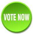 vote now green round flat isolated push button vector image vector image