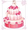 wedding pink cake vector image vector image