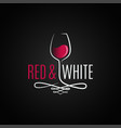 wine glass logo red and white wine vintage design vector image vector image