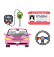 woman car driver license isolated icons set female vector image vector image