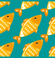 yellow fish seamless pattern on green background vector image